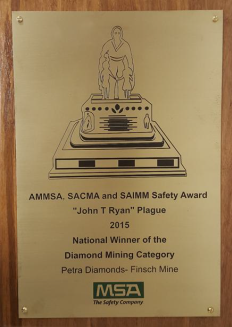 "The ""John T. Ryan"" Plaque for National Winner of the Diamond Mining Category"